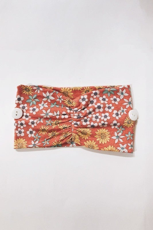 Button Headband - Floral