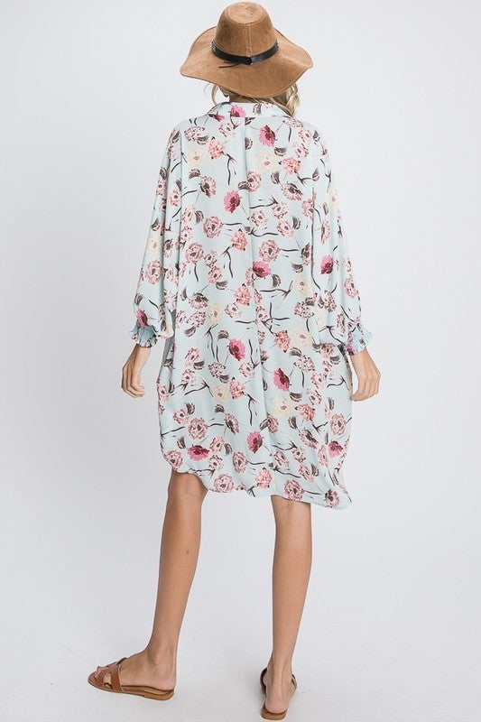 Sunset Night Floral Shirt Dress-Mint