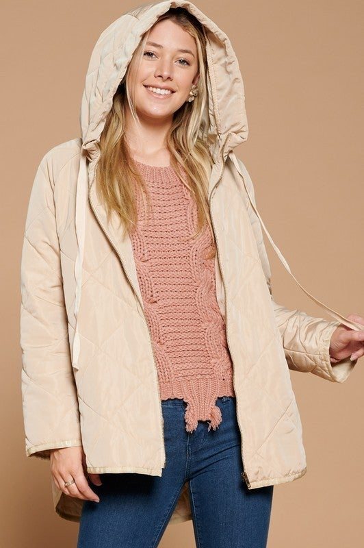 Reg/Plus Impeccably Exquisite Quilted Jacket - Taupe