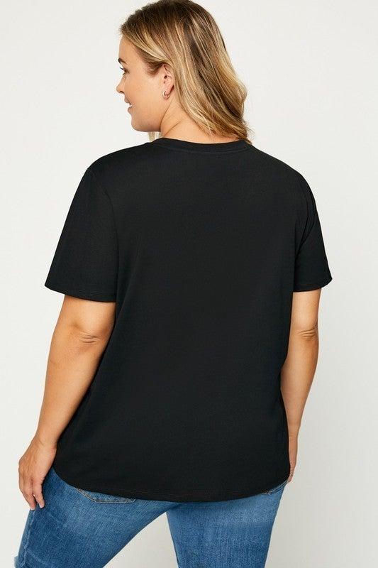 Sunshine Flocked T-Shirt-Black