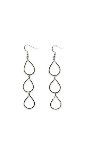 Love, Poppy 3 Tiered Teardrop Earrings - Silver