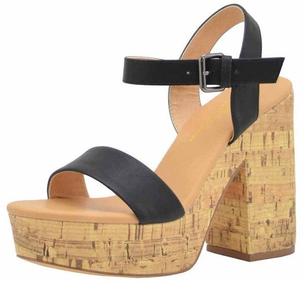 Stand Tall Cork Sandals - Black  (Run 1/2 Size Big)