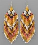 Bead Triangle Tassel Earrings