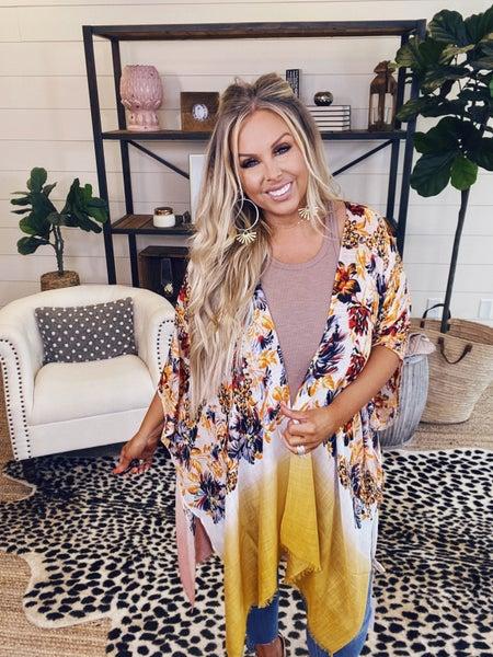 Jacquard Floral Kimono - Gypsy Breeze