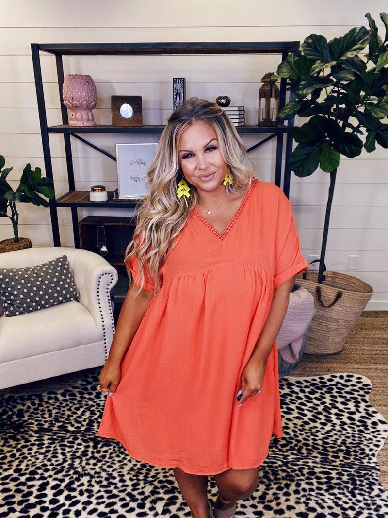 Feelin' Springy Babydoll Dress - Orange