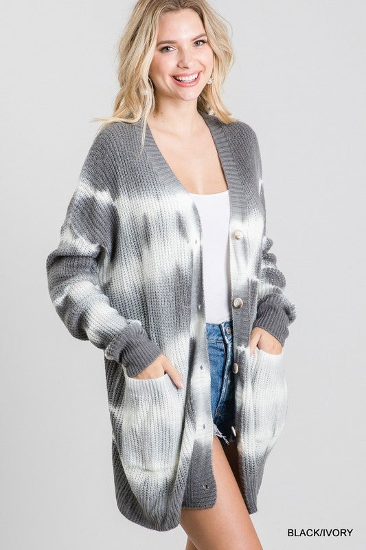All Those Buttons Tie Dye Cardigan - Grey