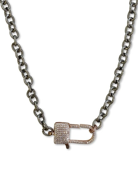 Jennifer Thames Rose Gold and Gunmetal Lock Necklace