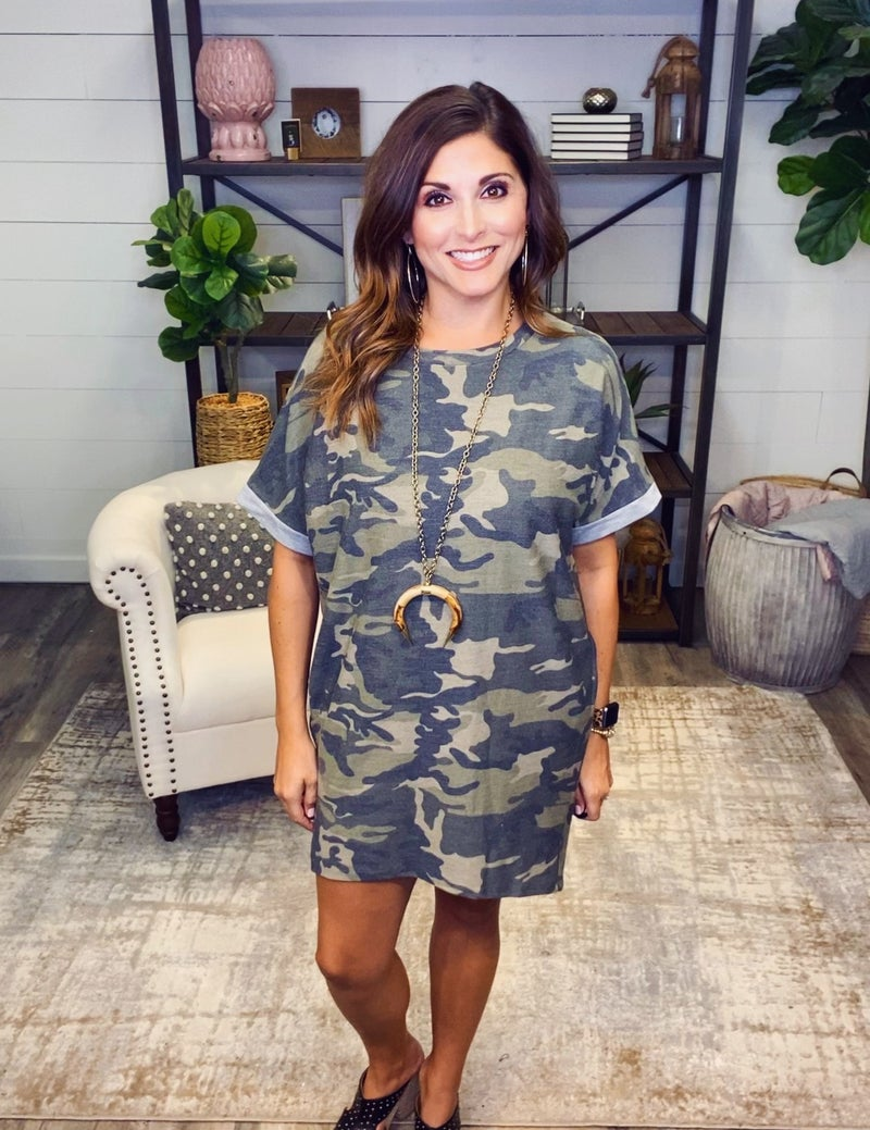 Walking on a Camo Cloud Dress