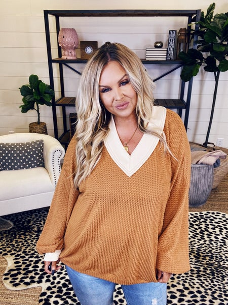 Rivers Bend Waffle Pullover Top