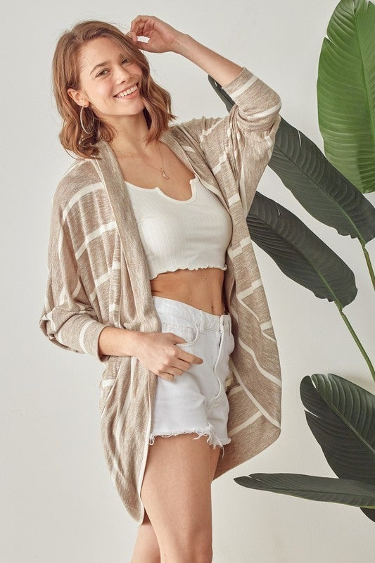 This Is The Life Cardigan - Coffee And Ivory