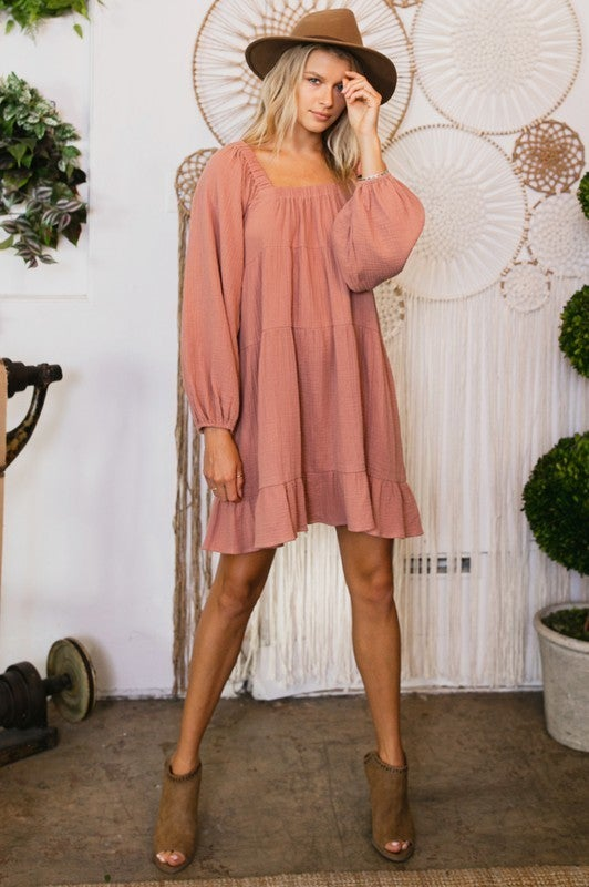 Simply Luxe Babydoll Dress - Mauve