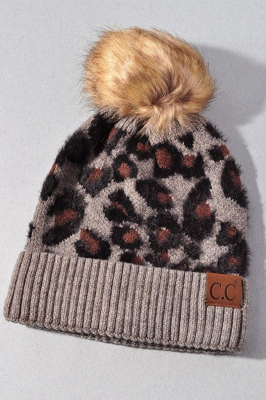 Leaping Leopards Beanie Hat - Gray