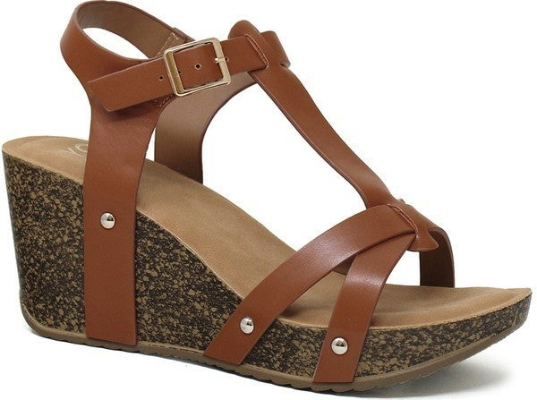 Stand Tall Chunky Wedge Sandals - Rust