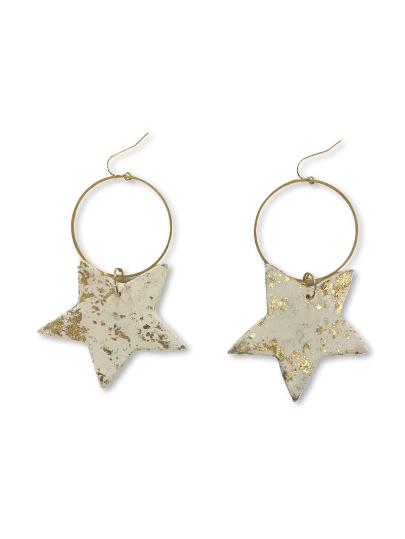 Chic'd Out Gold Leafed Star Hoops
