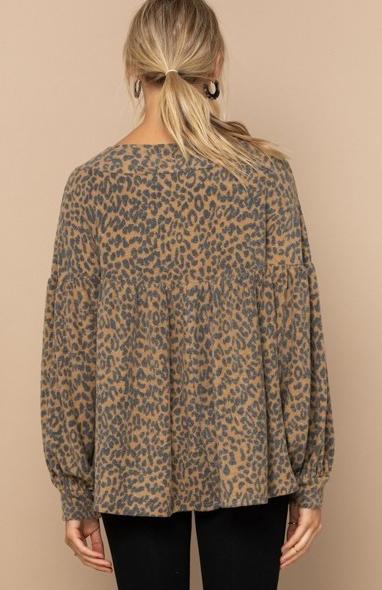 Reg/Plus Don't Be Selfish Leopard Top-Camel