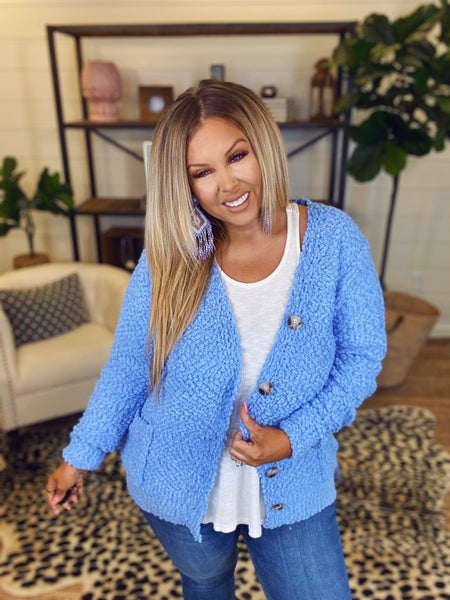 Jumping Into Comfort Cardigan - Spring Blue