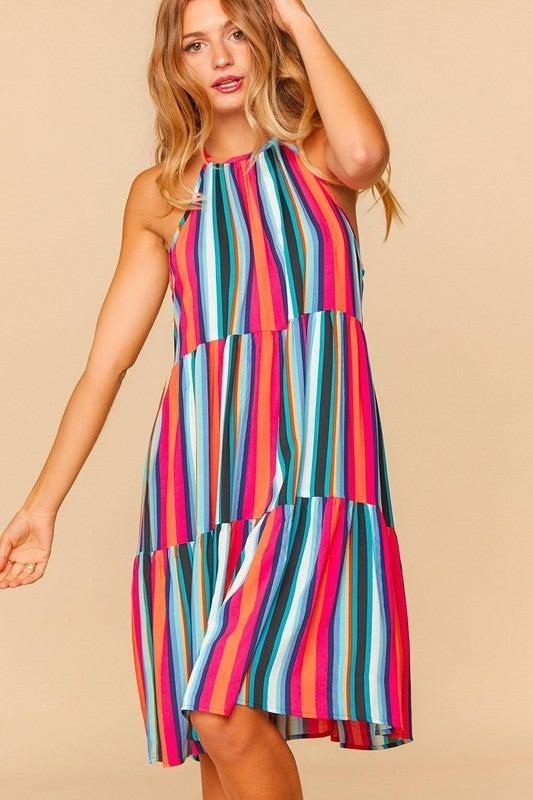 PLUS/REG Right This Way Dress - Fuchsia & Navy