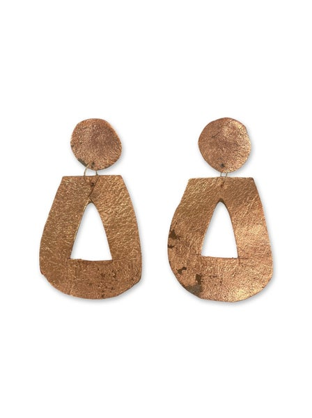 Chic'd Out Rose Gold Leather Door Knocker Earrings