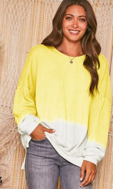 For The Love Of Ombre Sweatshirt- Lemon