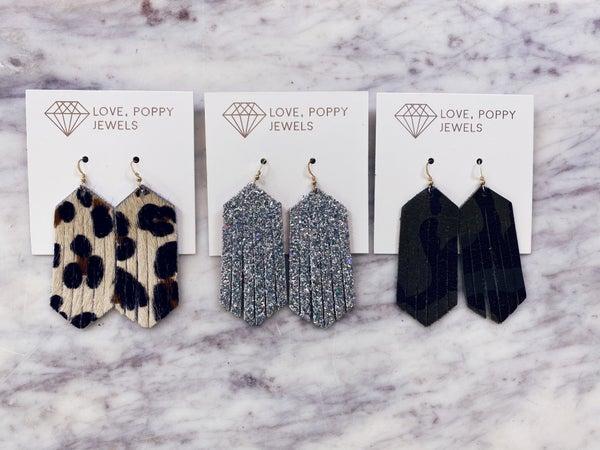 Love, Poppy Leather Fringe Earrings