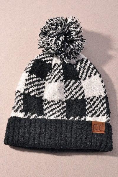 Winter Wonderland Beanie Hat - Black/White