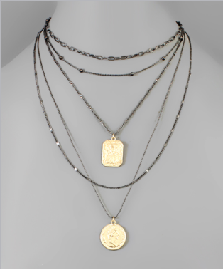 Ancient Coins Choker Necklace - Hematite/Gold
