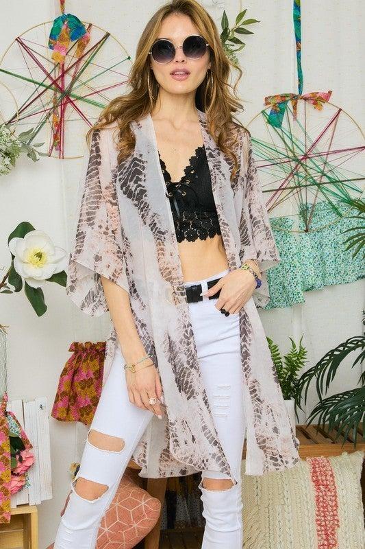 Fun On The Weekend Kimono - Taupe