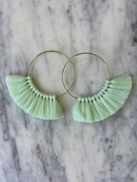 Love, poppy Tassel Hoops - Mint