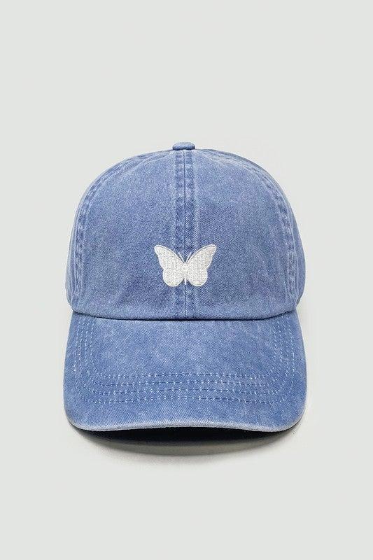 Fly High Butterfly Baseball Cap-Blue