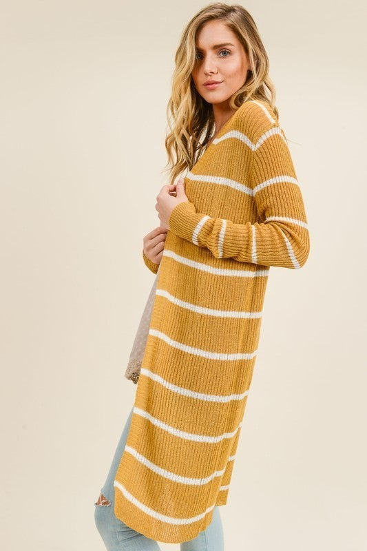 Long Live Stripes Cardigan - Mustard/Ivory