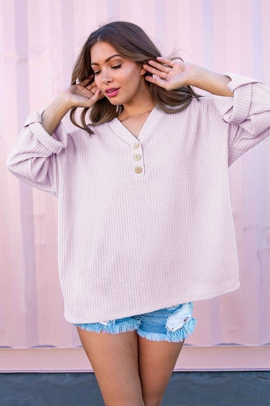 In This Moment Waffle Knit Top-Lilac