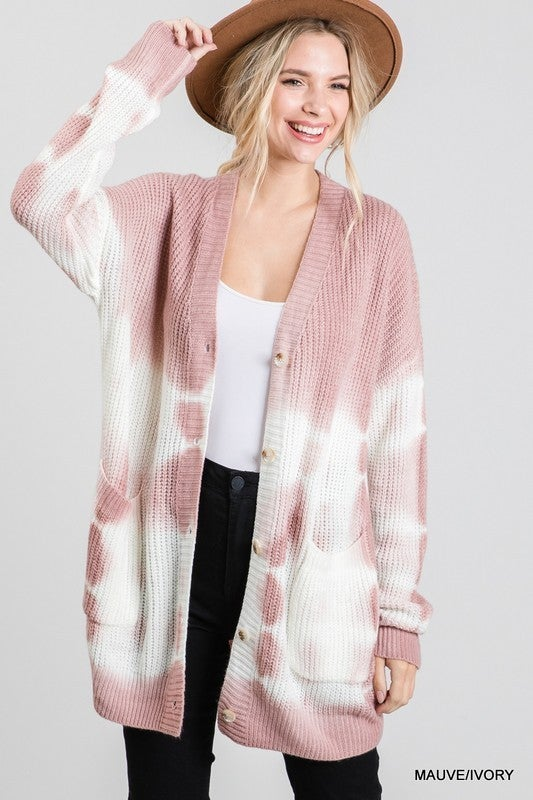 All Those Buttons Tie Dye Cardigan - Mauve