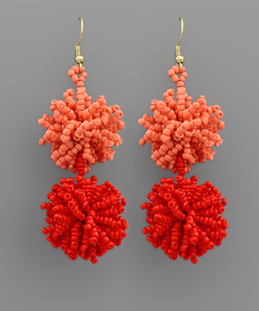 Beautiful In Bead Earrings - Red