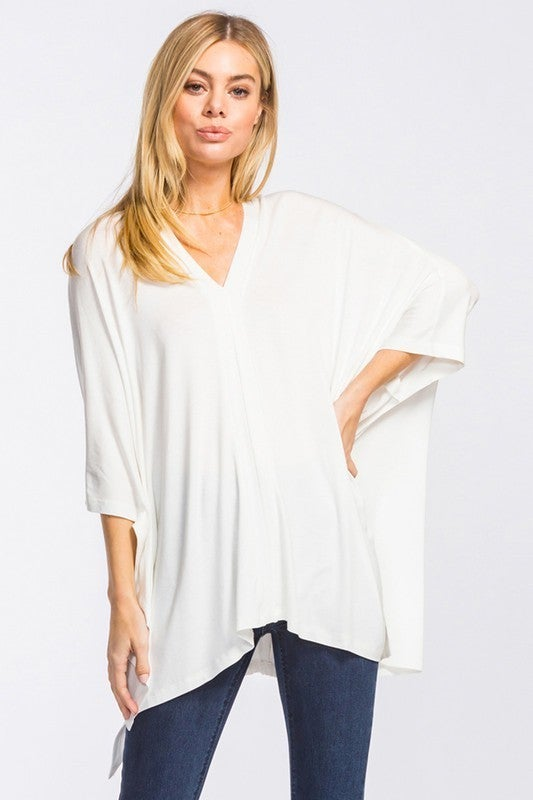 Singing in the Rain Poncho Tunic - Off White