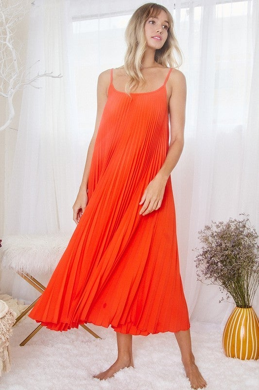 Learn To Live Cami Dress - Tomato Red