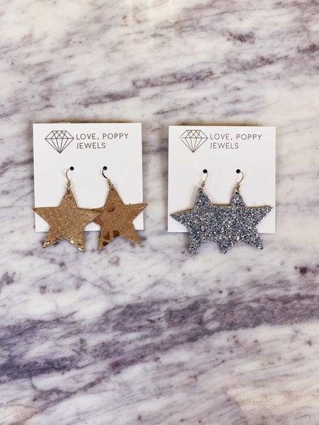 Love, Poppy Leather Star Earrings