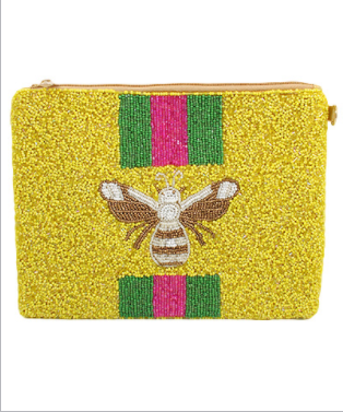 Busy Bee Beaded Clutch - Yellow