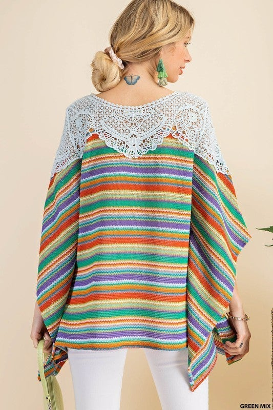 Live A Little Poncho Top - Green