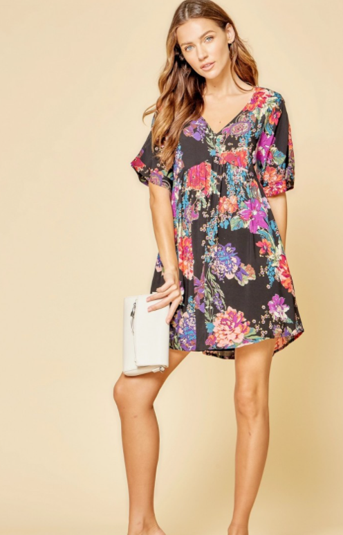 PLUS/REG Another Day in Paradise Dress - Black