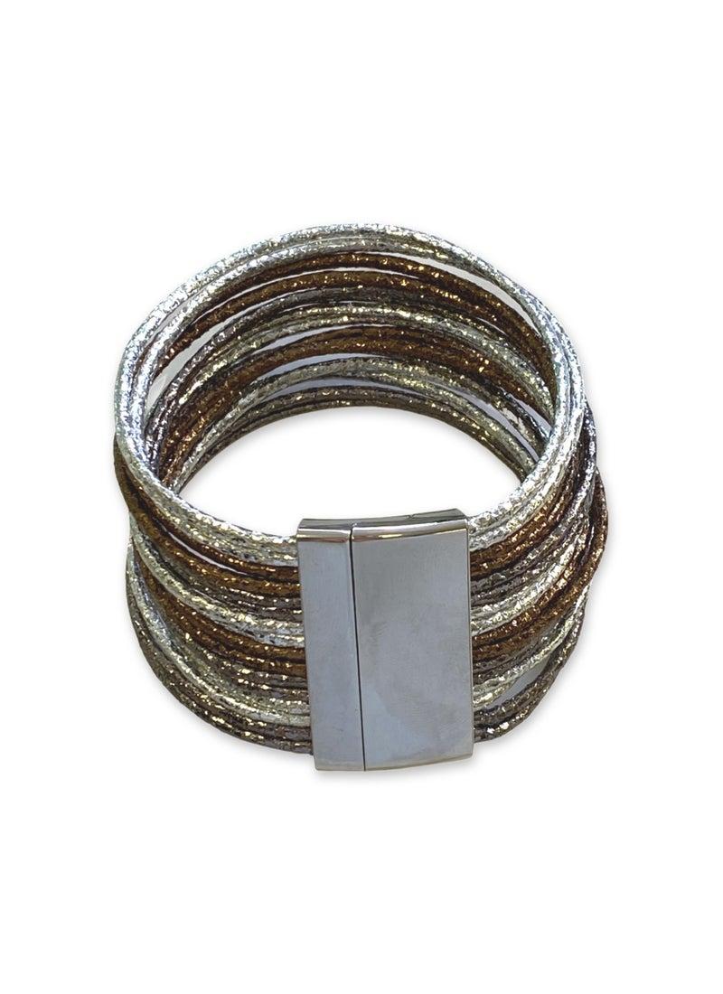 Love, Poppy Shimmer Stacked Leather Bracelet - Silver/Bronze