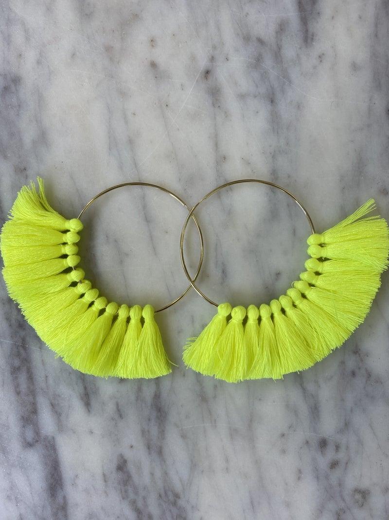 Love, Poppy Tassel Hoops - Neon Yellow