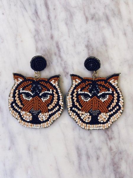 Hear Me Roar Tiger Earrings - Brown