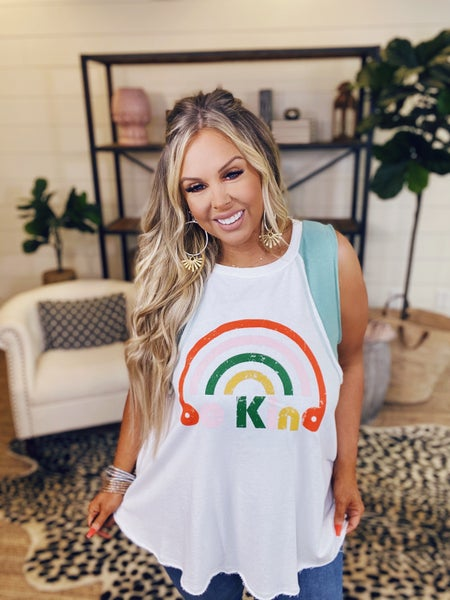 Be Kind Graphic Sleeveless Top - Sage