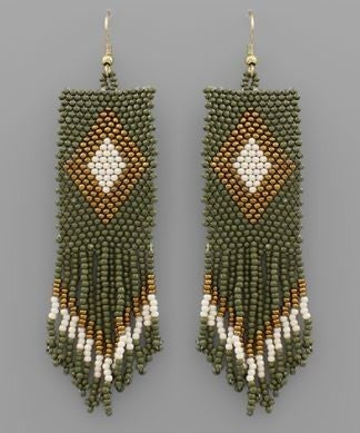 Steal The Show Earrings - Olive Multi