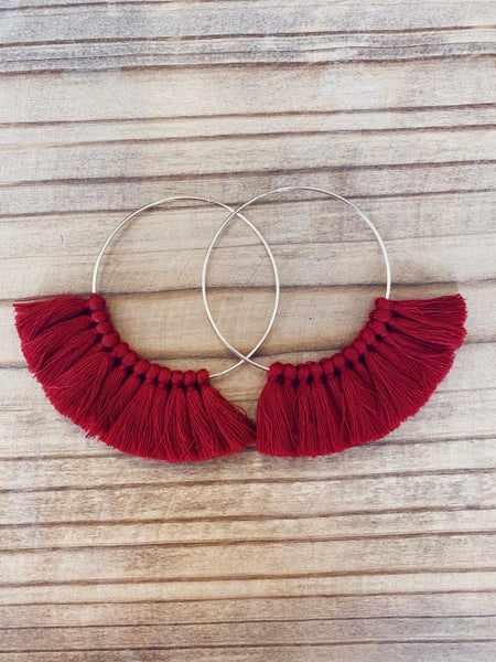 Love, Poppy Tassel Hoops - Maroon