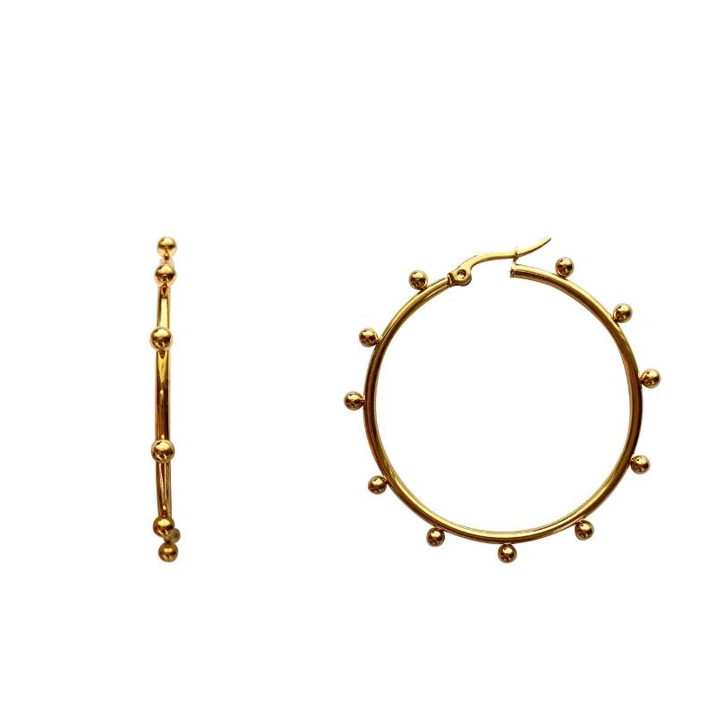 Love, Poppy Gold Studded Hoops