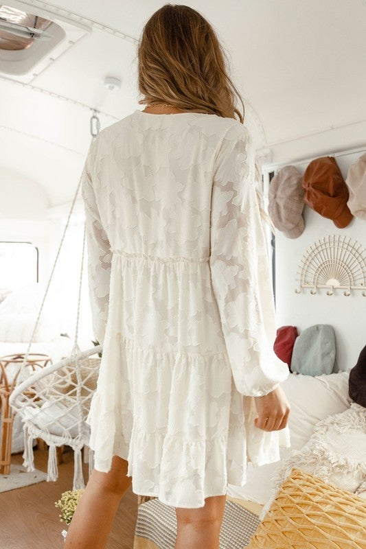 Cover Me In Lace Woven Dress-Cream