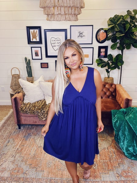 Keep Your Wits Dress - Navy