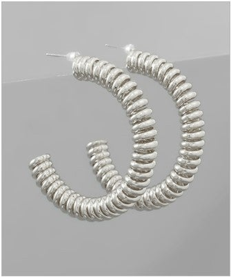 Coiled Up Earrings - Rhodium