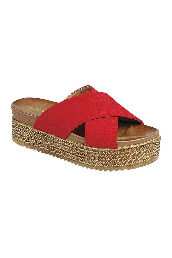 Out of Town Platform Sandal - Red